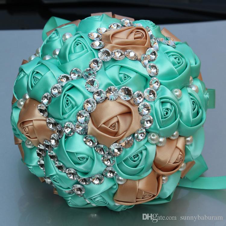 Turquoise Gold Wedding Bouquets Satinsweet 15 Quinceanera Bouquets     Turquoise Gold Wedding Bouquets Satinsweet 15 Quinceanera Bouquets  Artificial Flowers Rhinestones Crystal Bridal Holding Flowers W273 1  Wedding Paper