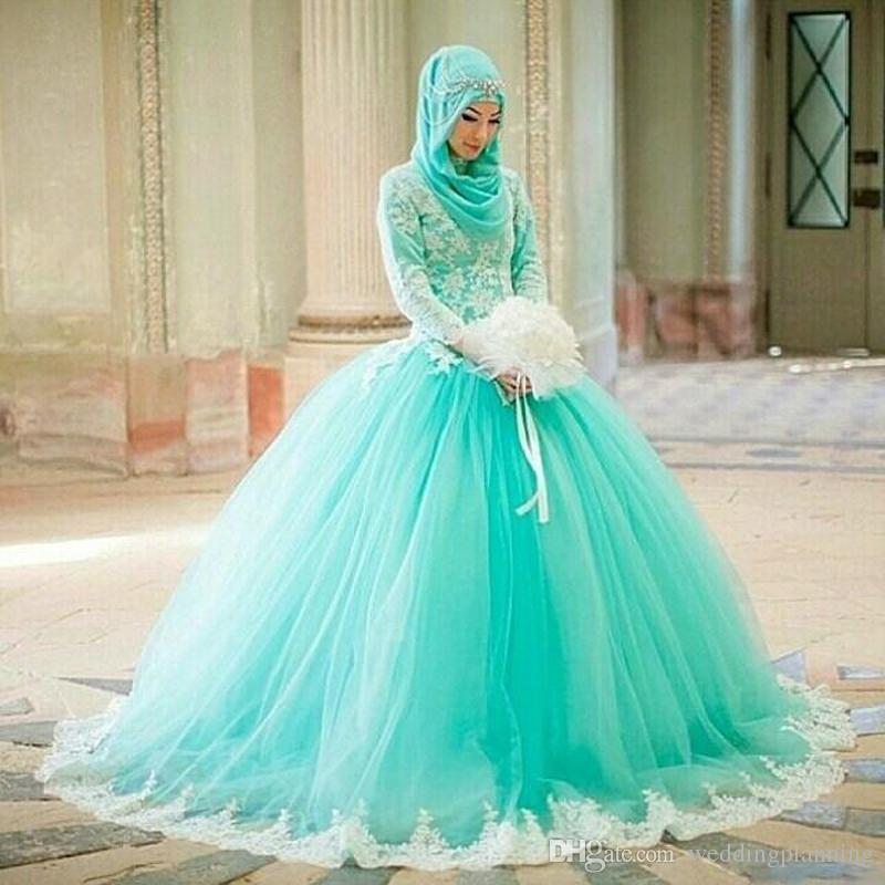 muslim arabic pakistani dubai ball gown wedding dresses high neck long sleeve turquoise tulle lace appliques long plus size bridal gowns wedding dress