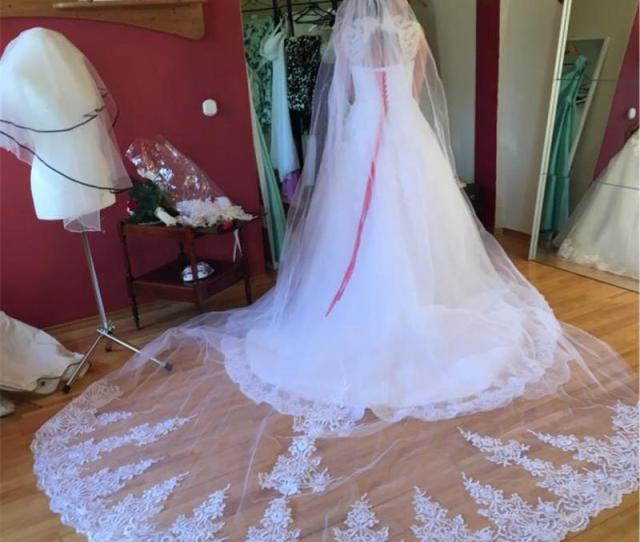 One Layer   Meters Long Lace Wedding Veil With Comb   M White Ivory Bridal Veil Veu De Noiva Unique Bridal Veils Veil For Wedding Dress From