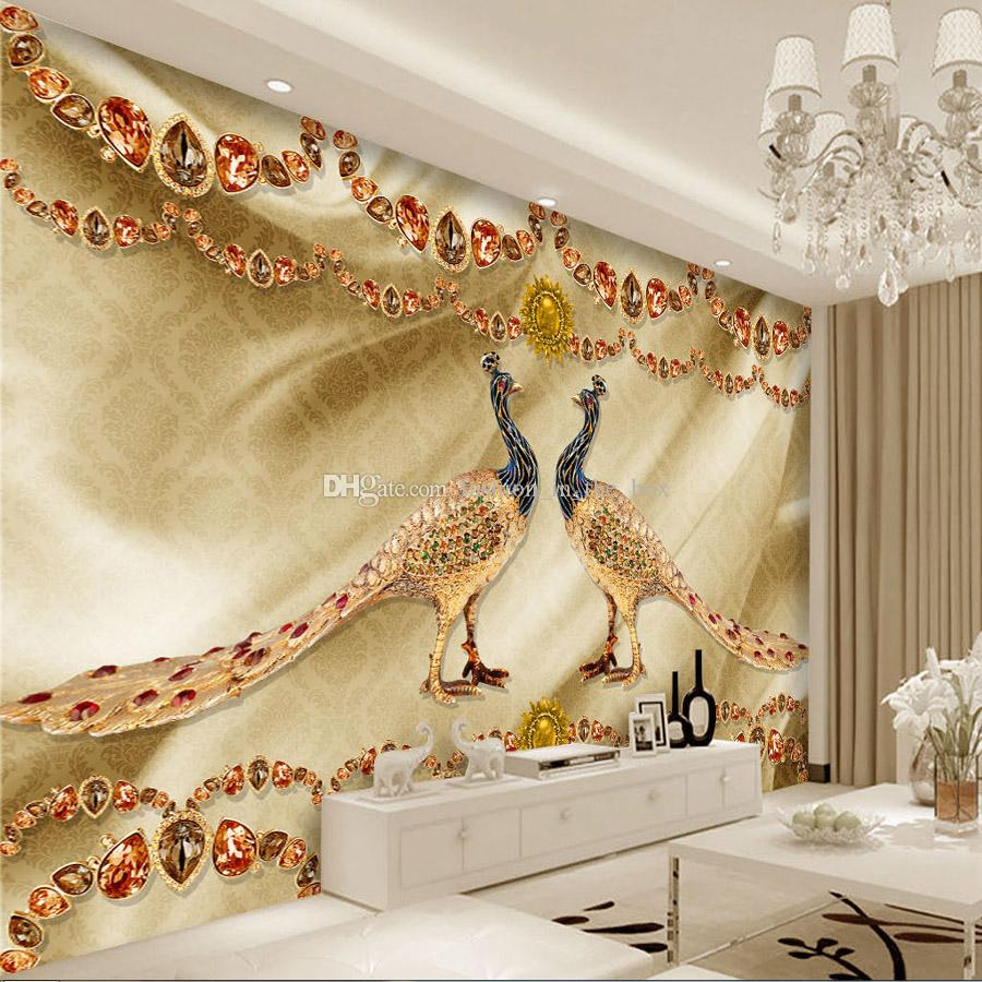 Golden Peacock Jewelry Wallpaper Luxury Wall Mural Custom