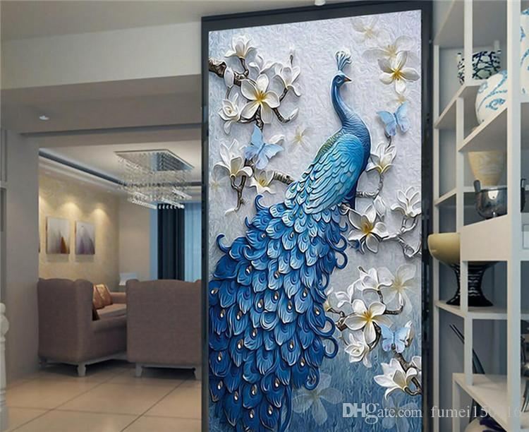 Großhandel 3D Geprägte Pfau Vogel Blumen Flur Fototapeten Wandbilder