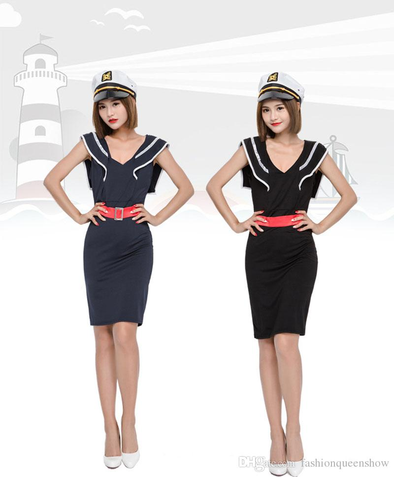 Packing Content 1x Dress1x Hat 1x Belt Sexy Navy Style Dress Attractive Girl