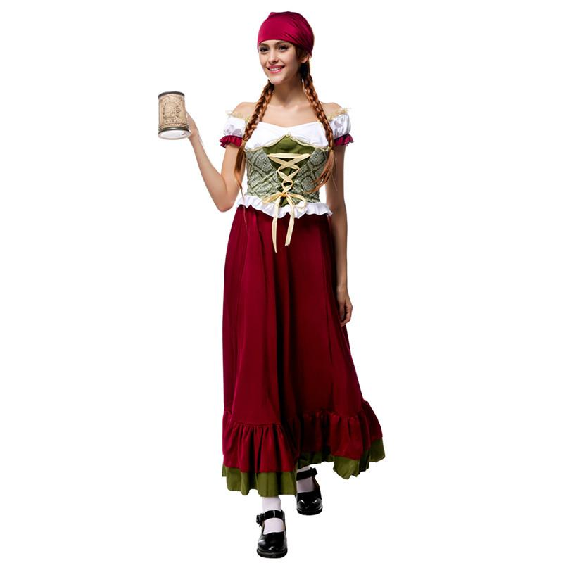 Oktoberfest Outfit Bavarian Costume Adult Plus Size German Beer Girl     OKTOBERFEST Outfit Bavarian Costume Adult Plus Size German Beer Girl  Carnival party Fancy Women Cosplay Dress