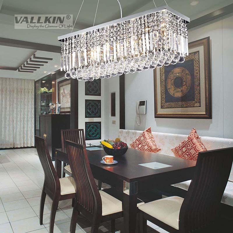 Vallkin 174 Modern Rectangular Crystal Chandelier Dining Room