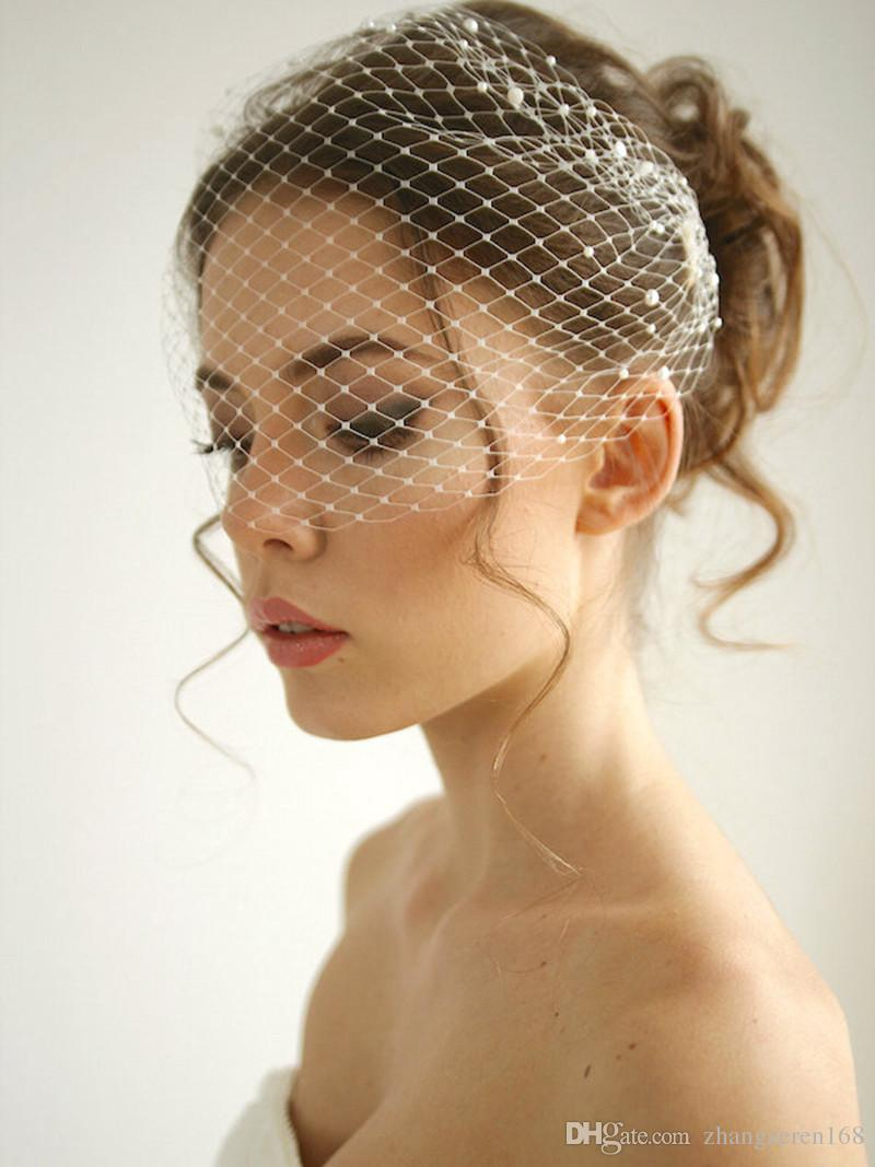 Pearl Birdcage Wedding Veil Netting Headband Veil Bridal
