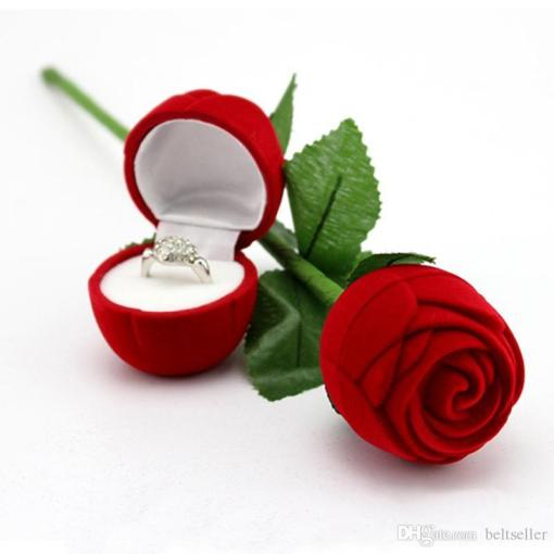 Best Quality Romantic Red Rose Flower Velvet Wedding Ring Holder     Best Quality Romantic Red Rose Flower Velvet Wedding Ring Holder Earrings  Storage Display Case Pendants Jewelry Gift Box Valentines Day Birthday  Gifts At