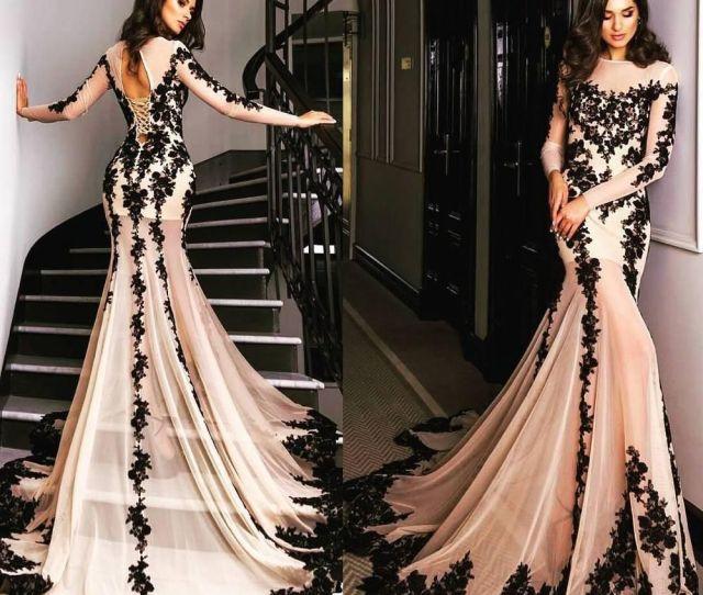 Fitted Blush Pink Lace Prom Dresses Long Sleeve Chiffon Party Dress Graduation Gowns Black Applique Lace Evening Gowns Vestido De Festa Long Blush Pink Lace