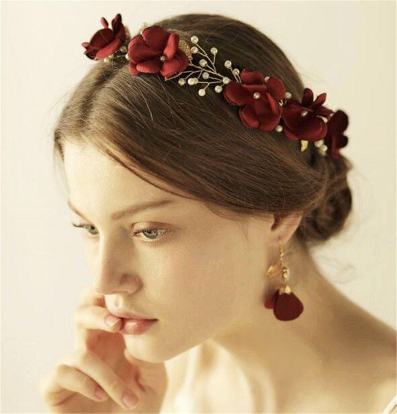 wedding bridal silk flower crown headband red rose tiara gold crystal leaf hair band accessories earrings jewelry set party prom headdress wedding hair
