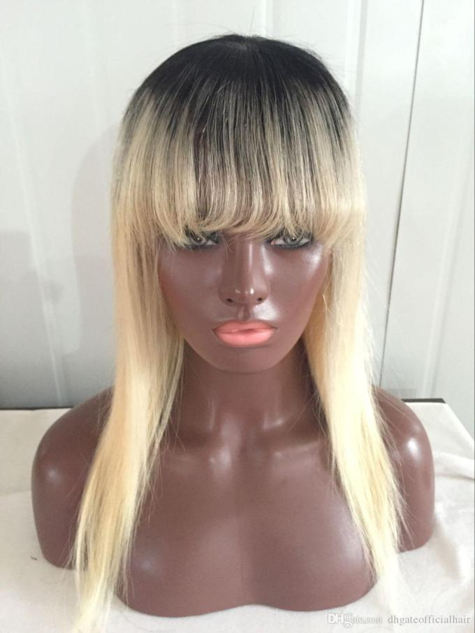 brazilian high quality 1b/613 blonde full lace wig glueless lace front wig natural silky straight human hair wigs with bang baby hair