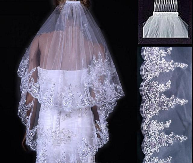 Cheap  Meter White Ivory Lace Edge Purfles Short Tulle Wedding Veils Bridal Accessories Layer Veu De Noiva With Comb Vintage Birdcage Veil Birdcage