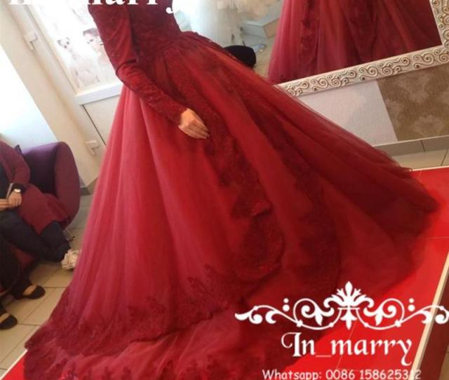Red Ball Gown Islamic Muslim Overskirt Evening Dresses  High Neck Long Sleeves Vintage Lace Plus Size Abayas Kaftan Formal Prom Gowns Amazing Evening