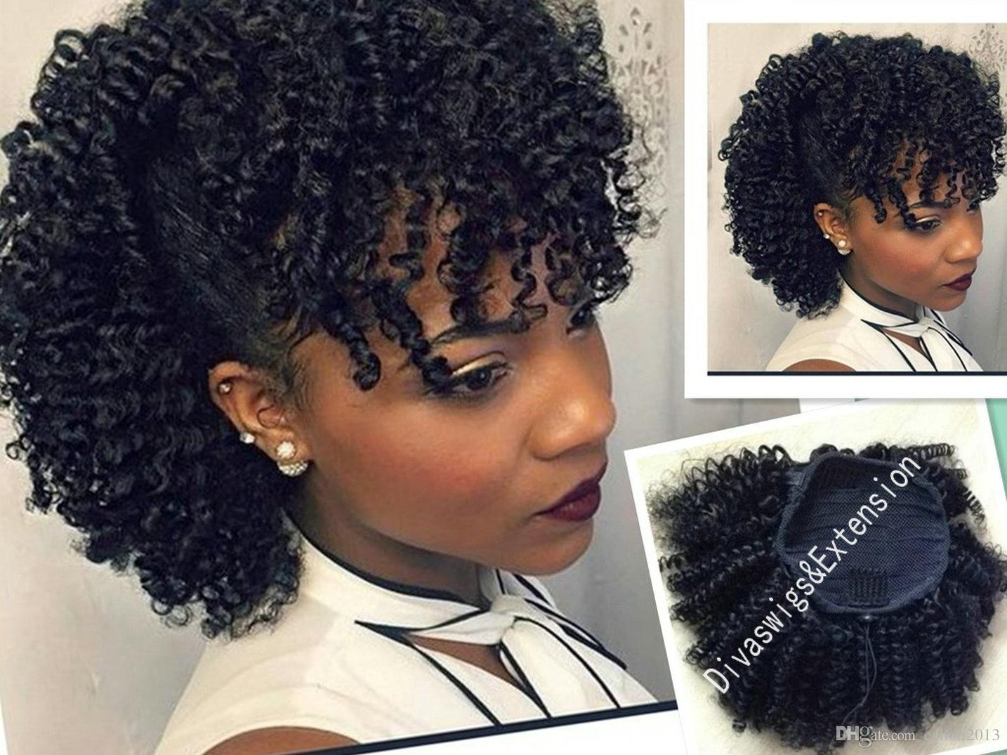 Afro Kinky Curly Human Hair Drawstring Ponytail For Girl