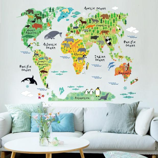 cartoon animals world map wall stickers for kids room decorations