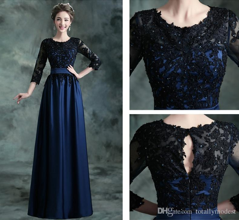2017 Navy Blue Long Modest Bridesmaid Dresses With 34