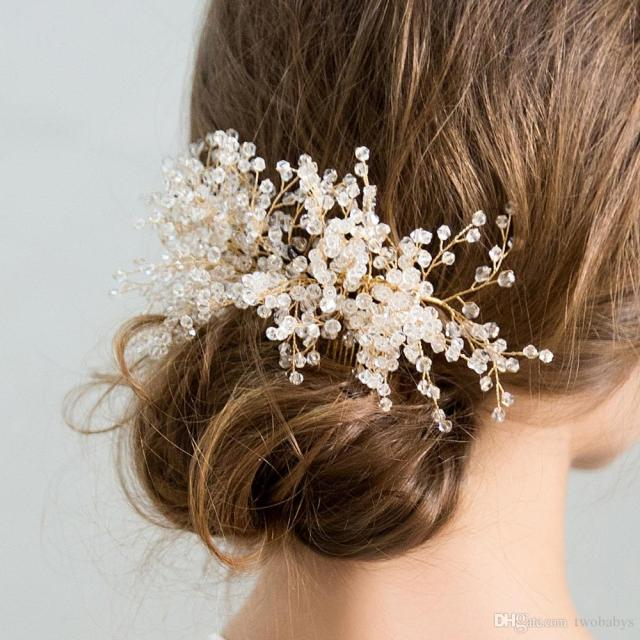 luxury gold bridal hair combs with shiny crystals beads hairpins for brides hair jewelry wedding hair accessories