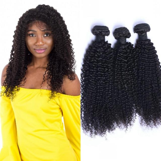 brazilian kinky curly hair extensions human hair bundles 4 bundles double weft remy hair bundles natural color ping