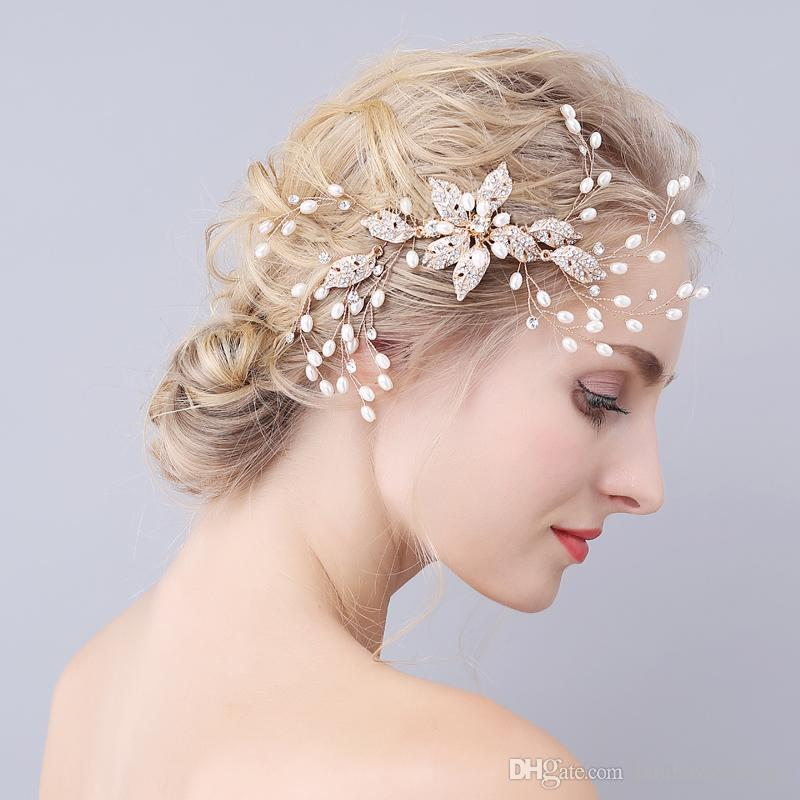 flexible and bendable wedding hair combs pearl encrusted rhinestone alloy flowers wedding headpieces tiaras floral charm bridal accessories discount bridal