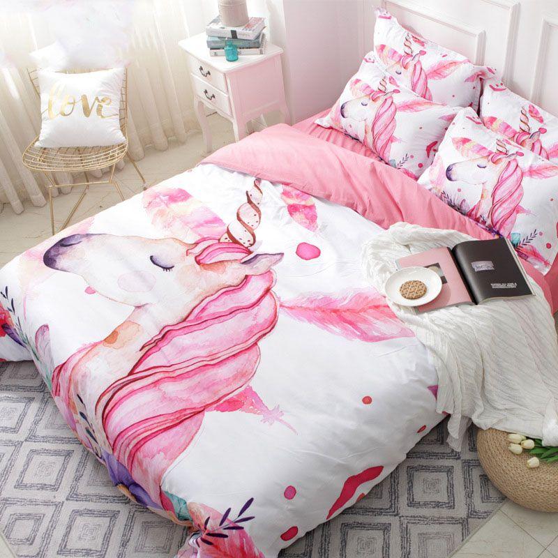 acheter licorne floral bande dessinee ensemble de literie rose fille mignonne housse de couette ensembles double complete queen king taille housse de