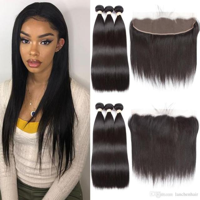 13*4 lace frontal closure with bundles brazilian straight hair weave with closure straight human hair bundles with lace closure perstar