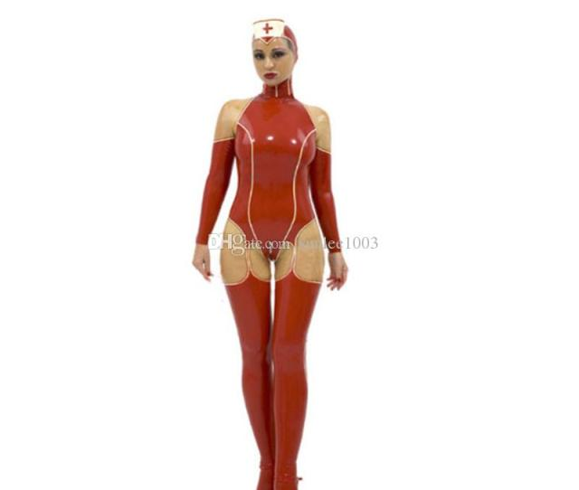 2019 New Arrival Hot Sale Exotic Lingerie Female Women Handmade Latex Nurse Ceckc Uniform Outfit Maid Cosplay Bodysuit Catsuits From Sunlee1003