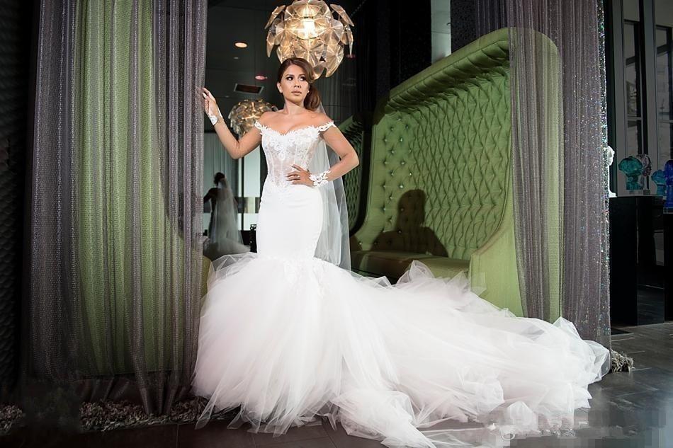 2019 Off Shoulder Modest Mermaid Wedding Dresses Dubai