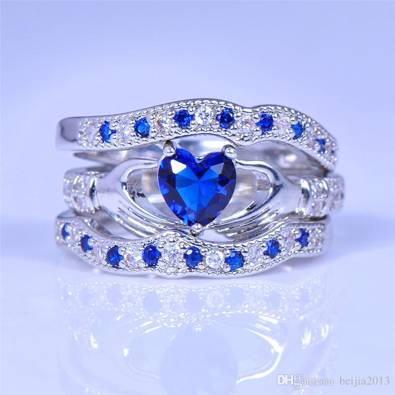 2019 New Cute Heart Blue Stone Ring Set For Women Wedding Jewelry 14k White Gold Plated Cz