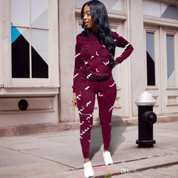 2019 Women Sport Tracksuit Printed All Over Hoodies ...