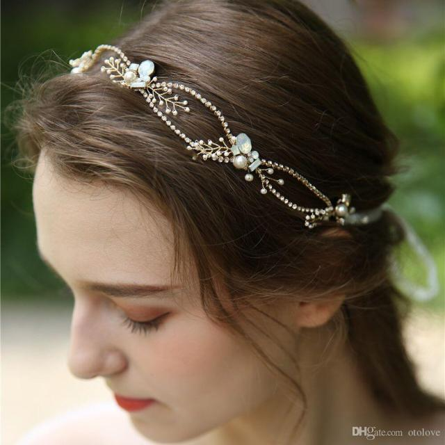 gold plated bridal headband beaded flowers hair vine waves wedding crown handmade hair accessories for brides 2019