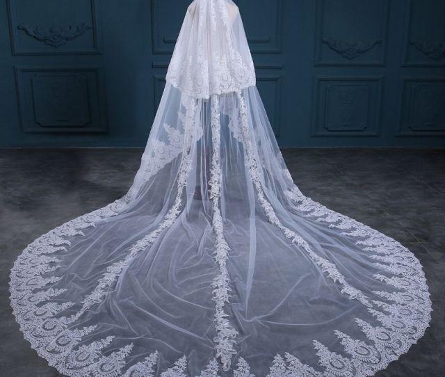Casamento Romantic Lace Bridal Veil  White Ivory  Meter Wedding Veil Sexy Veu De Noiva Bride Sluier Vestido De Noiva Bridal Lace Veil Bridal Mantilla