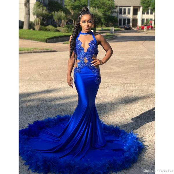 Royal Blue Prom Dresses For Black Girl Sexy Lace Appliques Feather     Royal Blue Prom Dresses For Black Girl Sexy Lace Appliques Feather Court  Train Long Mermaid Special Occasion Evening Dress Formal Wear 2018