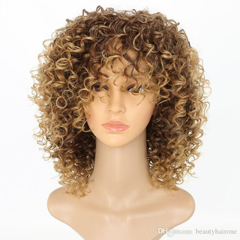 Synthetic Afro Short Curly Wigs Loose Curls Wig With Bangs