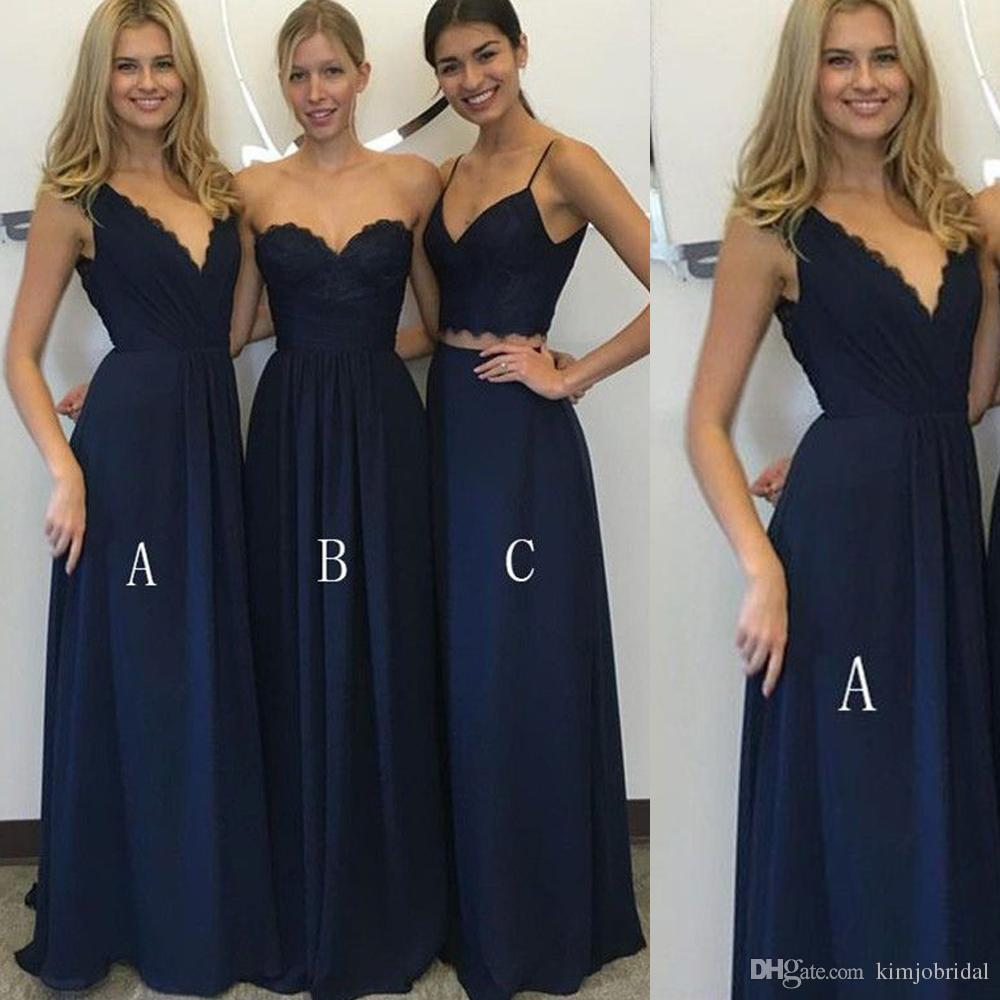 Cheapest Navy Bridesmaid Dresses Sweetheart Neckline Chiffon Lace     Cheapest Navy Bridesmaid Dresses Sweetheart Neckline Chiffon Lace Floor  Length Long Maid Of Honor Dresses Gowns Sexy Designer Gowns Green  Bridesmaid Dresses