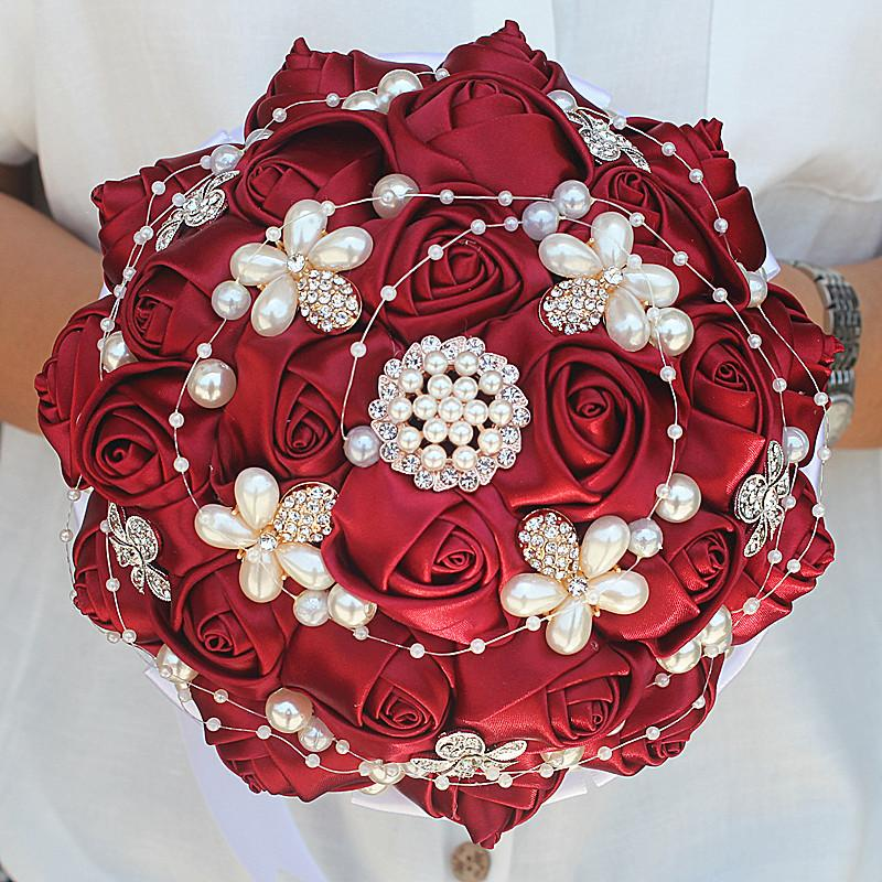 18cm Dark Red Silk Rose Wedding Bouquet Rhinestone Pearl Bridal     High 25CM  bouquet is handmade  there is about 1 2CM error  Color  Picture  color Material  Silk flower  Ribbon  Pearl  Rhinestones Packing  Gift bag