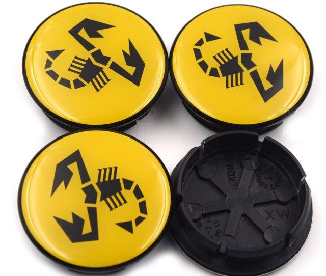 Gzhengtong Mm Mm For  Abarth Wheel Hub Center Black Caps For Fiat Abarth Marea Multipla Punto Scorpion Car Emblem Wheel Center Hub Cap Scorpion