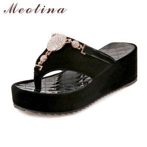 6ed2256c3 Phantasy Meotina Flip Flops Shoes Women Platform Sandals Rhinestone Sandals  Ladiessandals Beach Shoes Slippers Black Size