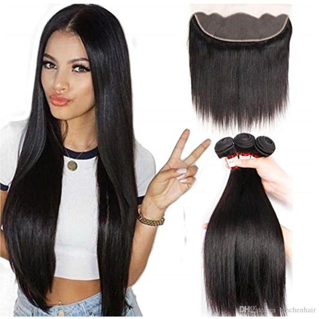 straight hair bundles with lace frontal 13*4 human hair natural black color 100% unprocessed human hair bundles