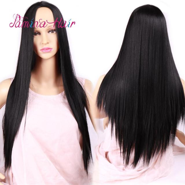 pamina long straight ombre wig natural black high density heat resistant synthetic hair weave full wigs for women