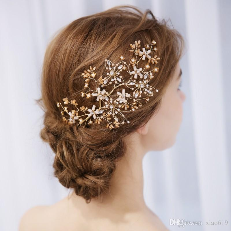 charming gold flower hair vine bridal piece handmade wedding hair accessories jewelry for women party crystal headpiece wedding tiaras and headbands