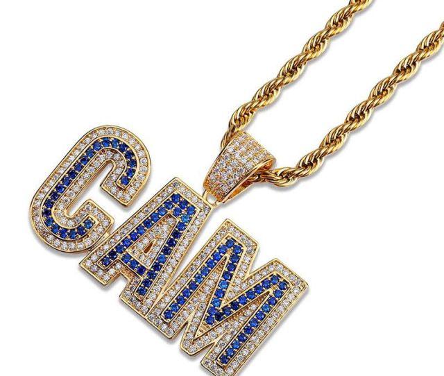 Wholesale Bling Cubic Zirconia Hip Hop Jewelry For Men Women K Gold Plated Ice Out Hiphop Letters Cam Pendant Necklaces Wholesale Pendants For Necklaces