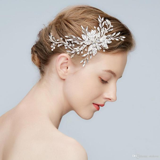 new crystal branch bridal headpiece handmade rhinestone leaves hair adornments antique silver wedding jewelry women accessories