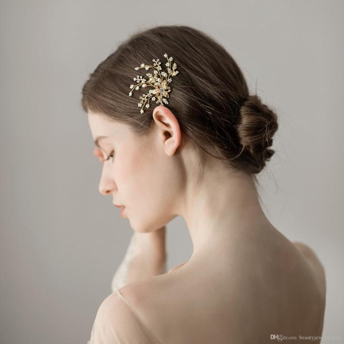 gold hairpins with pearls beaded brilliant wedding hair jewelry bridal hair accessories flower shape wedding accessories