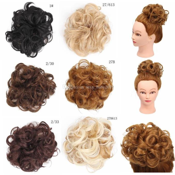 free shipping hot selling clip in curly chignon bridal buns for hair extension 5 inch 100% synthetic fiber hair piece