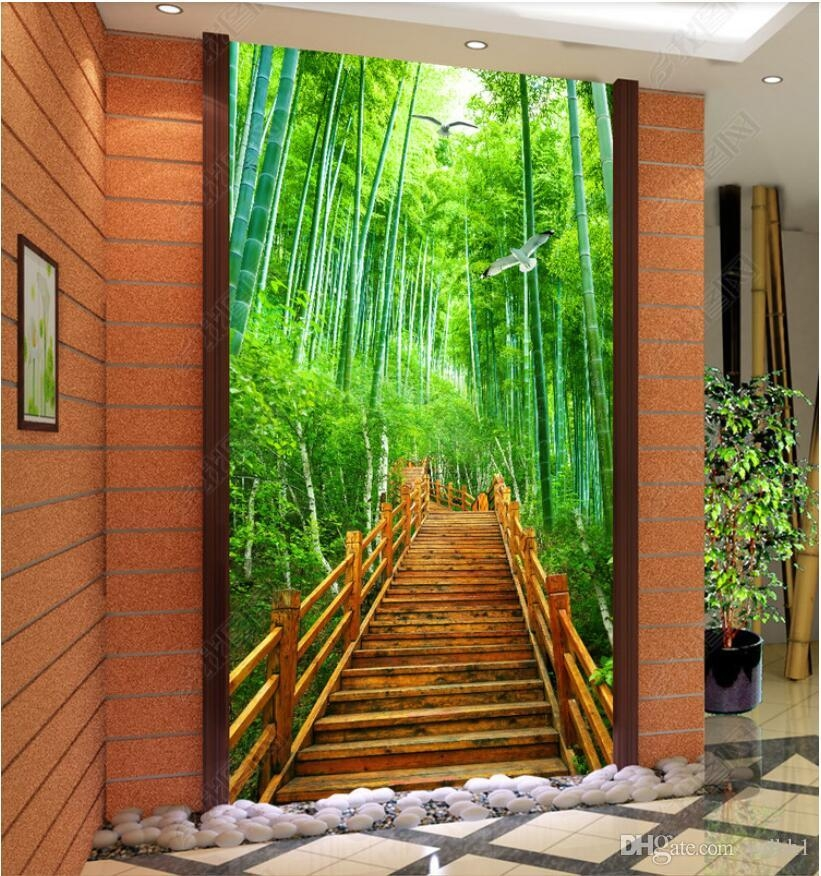 3D Wallpaper Custom Photo Bamboo Forest Stairs Forest Porch | Wall Painting Designs For Staircase | Side Wall | Upstairs | Art Staircase | Boy | Creative