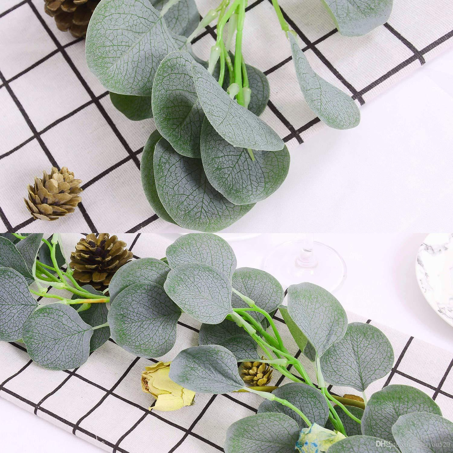 2019 Artificial Garland Vines Faux Silk Eucalyptus Garland ... on Wall Sconces For Greenery Decoration id=30313