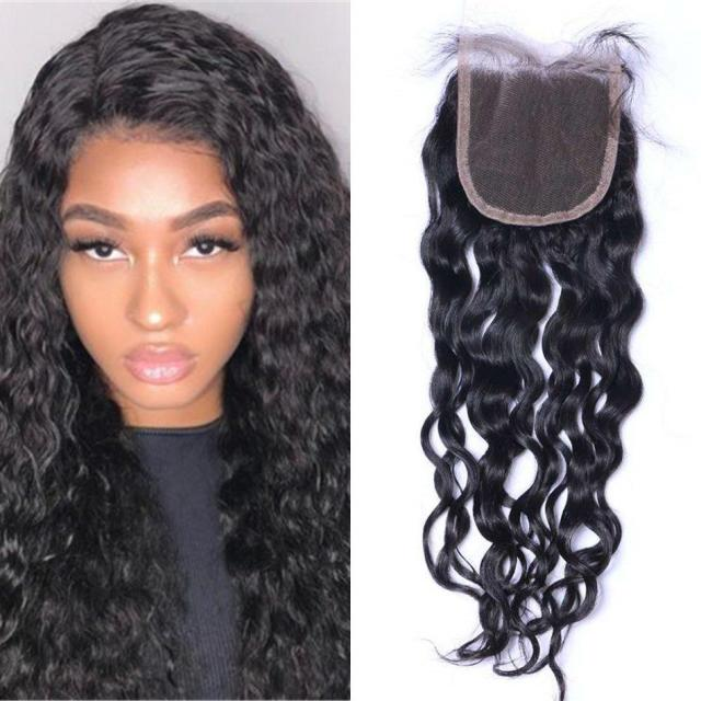 4x4 water wave swiss lace closure 100% human hair middle/free/three part brazilian lace closure ping