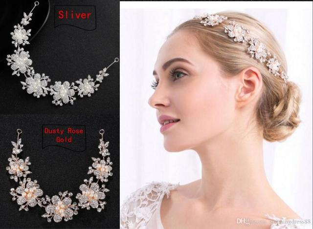 2019 charming dusty rose gold sliver flowers wedding tiaras headpieces bling crystals pearls designer for wedding prom evening dress jewelry