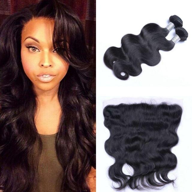 malaysian body wave hair bundles with lace frontal 13*4 natural color 2 pieces human hair bundles with closure remy hair ping