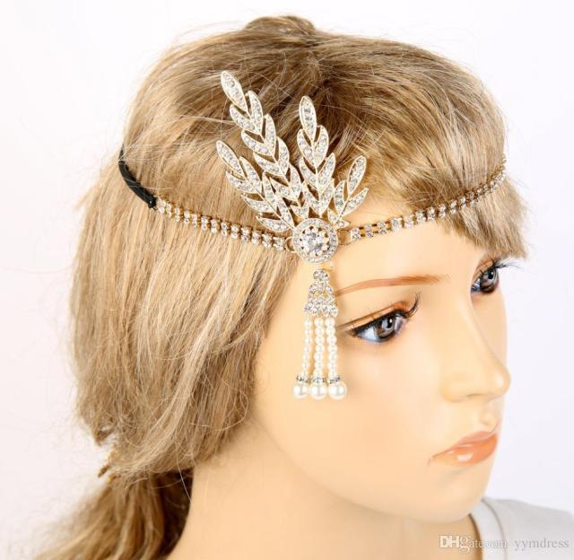 rose gold great gatsby wedding bridal crystal fascinators hair flowers jewelry rhinestone queen headdress prom hair band accessories