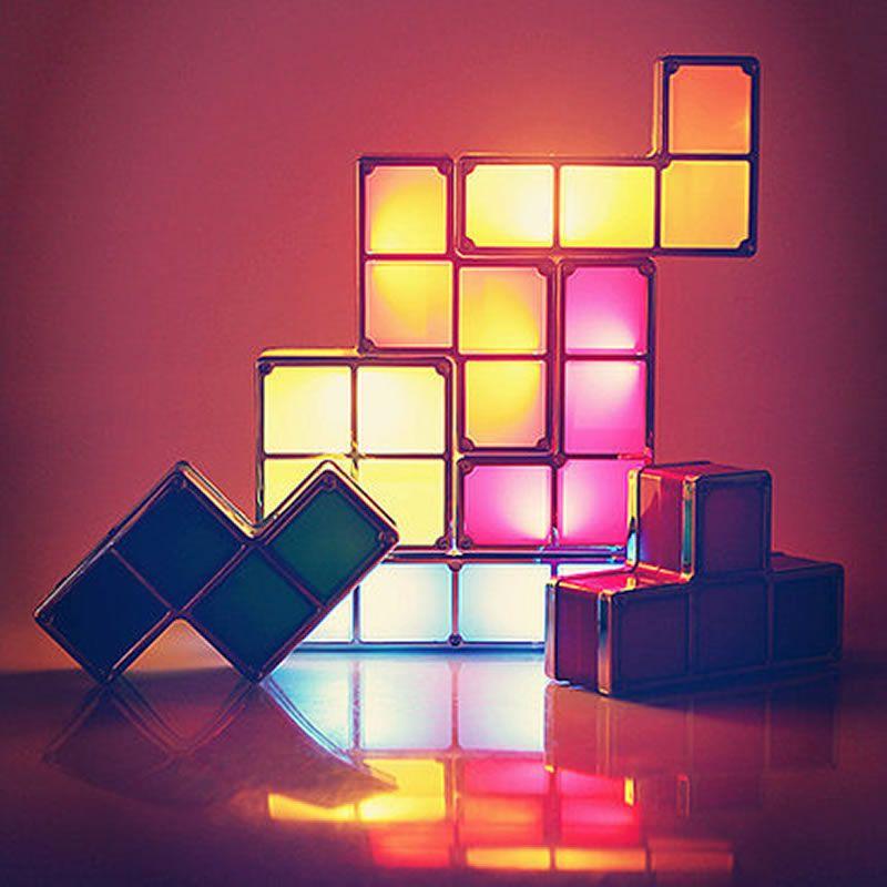 led lueur tetris puzzle lampe de table lampe de table bricolage colore blocs de construction lumiere de nuit empilable constructible led cubes jouets pour