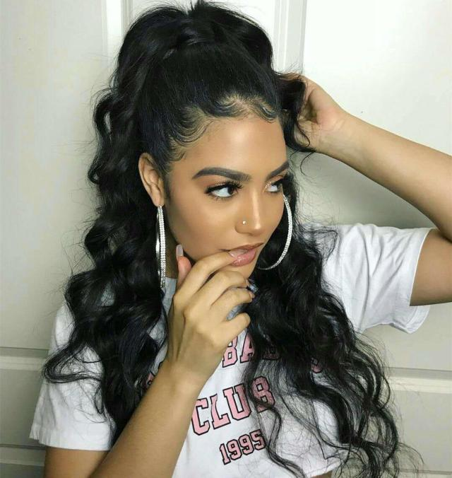 120g human hair kinky ponytails hairpieces for american black women body wave ponytail drawstring clip on pony tail 5 colors available